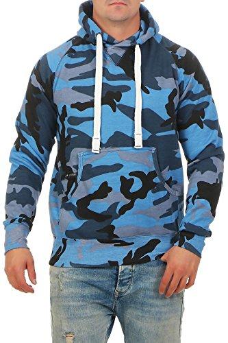 Herren Pullover Camouflage Hoodie Blau Kapuzenpullover Pulli mit Kapuze, Farbe:Blau, Größe:3XL