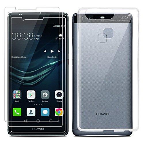 Huawei P9 Caso Screen Protector Set, EnGive trasparente di TPU