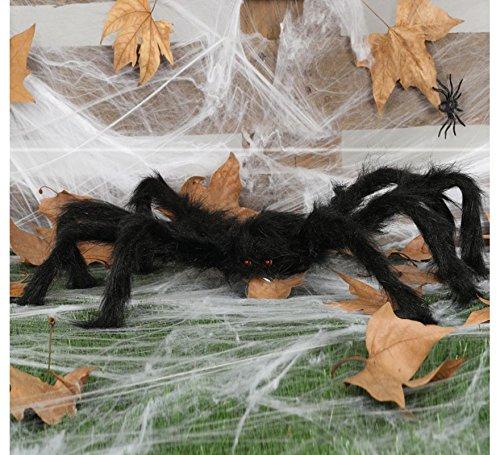 Guirca haarige Schwarze Riesen Spinne Halloween Ungeziefer Deko Horror Spinnen Dekoration 15 cm + Beine