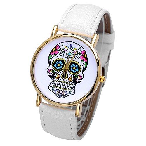 JSDDE Montre tête de mort Bracelet Cuir Bijoux Femme Homme Skull watch pas cher Blanc