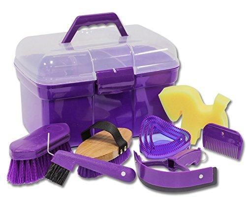 Putzbox Putzkiste befüllt mit Zubehör für Pferde Farbe: lila| Putzkasten | Putzkoffer Putzbox mit Inhalt