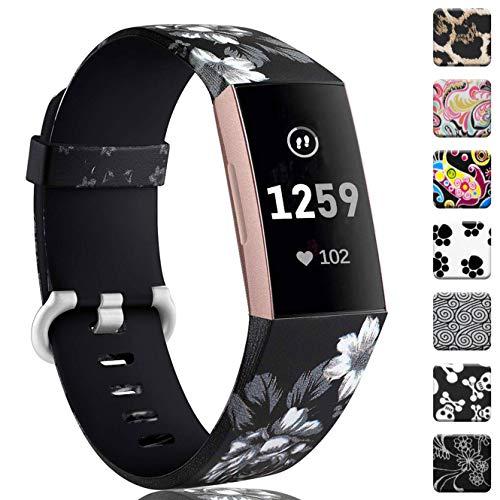 Zekapu für Fitbit Charge 3 Armband, Verstellbares Klassisches Armbänder mit Klassischer Aluminiumlegierung Schnalle kompatibel für Fitbit Charge 3, Groß Graue Blume