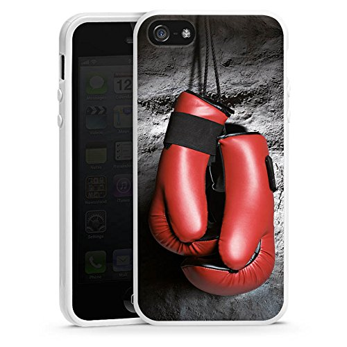 Apple iPhone 5s Housse Outdoor Étui militaire Coque Boxe Gants de boxe Fight Housse en silicone blanc