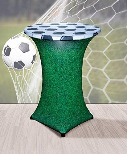 Stretch Tischhusse mit edlen Designs für Stehtisch 70-85 cm Durchmesser (Fußball)