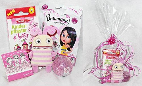110002 Geschenk Set Polly Pink für Mädchen 5 - 7 Jahre, Geschenk verpackt, Sorgenfresser, Glitzerflummi, Blindbag Briliantring Modeschmuck