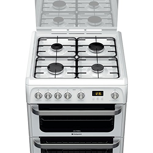 Hotpoint HUG61P Cooker Freestanding Gas Double Oven Polar White