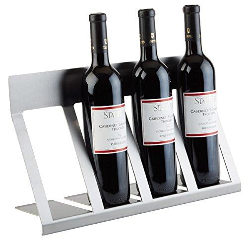 """Flaschen Display """"LARGE"""" aus mattiertem Edelstahl, für 4 Flaschen / 46 x 15 x 19,5 cm   SUN"""