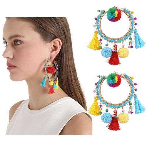 Dreamcatcher Quaste Ohrringe, Ethnischen Stil Ohrringe Aus Umweltfreundlichen Materialien Wie Farbige Quaste Linien Und Farbige Garn Bälle Sind In DREI Farben Erhältlich,Color
