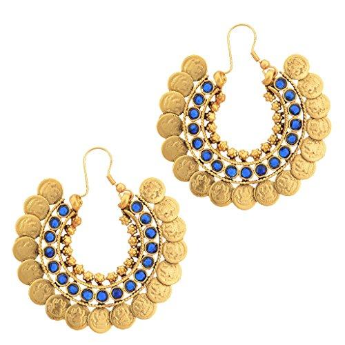 Adiva Kundans Chand Bali Blue Metal Alloy Hoops Earrings For Women