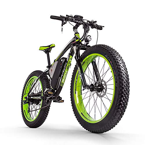 RICH BIT Bicicleta eléctrica para hombres E-bike Fat Snow Bike 1000W-48V-17Ah Li-batería 26 * 4.0 Bicicleta de montaña MTB Shimano 21-speed Disc Brakes Intelligent Electric Bike
