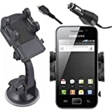 Mobilizers: In Car Charger & Windscreen Suction Mount Holder Cradle Kit With 360� Degree Rotation Feature For All New Phone Models Including Samsung Galaxy Ace S5830 / Galaxy Ace 2 / Galaxy Ace Plus / Galaxy Nexus (Works With Case)