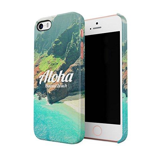 Aloha Hawaii Tropical Vibe Beach Ocean Sea Mountains Dünne Rückschale aus Hartplastik für iPhone 5 & iPhone 5s & iPhone SE Handy Hülle Schutzhülle Slim Fit Case cover