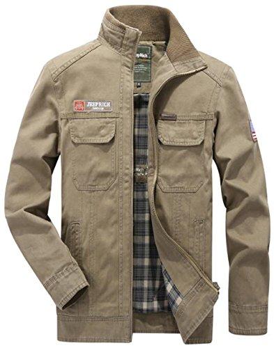 WS668 Homme 100%Coton Classic Casual Manteau Stand Collar Militaire Veste Mens Coat Parfait Jackets Kaki