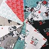 Unbekannt Camelot Mickey Maus 20Stück Charm Pack–Mickey Mouse Stoff Quilting Patchwork Charm Squares Bundle–Pink Weiß Blau Grau–von 12,5cm x 12,5cm (12,7x 12,7cm) Quilting Teilig