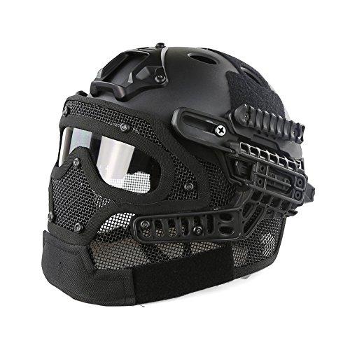 Taktischer Helm PJ-Typ Fast Molle mit Maske und Schutzbrille G4 System für Airsoft Paintball CS Outdoor Test