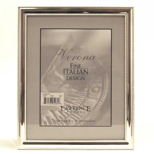 Lawrence Frames Metal Picture Frame Silver-Plate with Delicate Beading, 8 by 10-Inch -