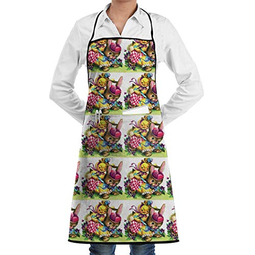 fregrthtg Home Aprons with Convenient Pocket, Vintage Chicks Chickens Rabbits Bunnies Bunny Hats Bib Apron for