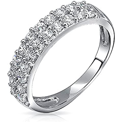 Bling Jewelry Pave CZ doppia fila Mezza Eternity Band Ring Sterling Silver