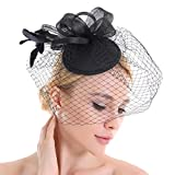 Feather Fascinator Veil Net Looped Flower Hat Hair Clip Accessories Wedding Prom