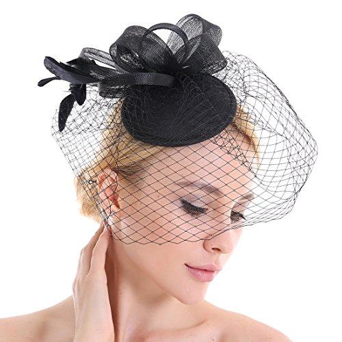 a5afc6703017d Plumas Velo neto Looped Flores Sombrero para el pelo accesorios boda Prom  negro negro Medium