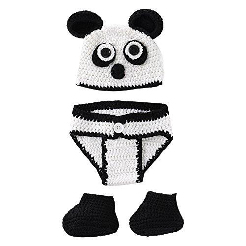 H.eternal Lauflernschuhe Häkel Unterhosen Gestrickt Häkel Beanie Kopfbedeckung Outfit Foto Panda Kostüm Fotografie Prop Geburtstag Geschenk - Panda Kostüm Schnee