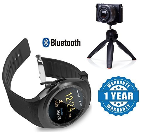 Drumstone Y1 Bluetooth Smartwatch with Sim & Tf Card Support with 228 Mini Mobile Tripod Compatible with Xiaomi, Lenovo, Apple, Samsung, Sony, Oppo, Gionee, Vivo Smartphones (One Year Warranty)