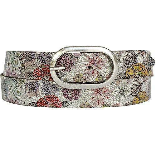Vanzetti Damen Leder Gürtel Metallic Damengürtel 30 mm Ledergürtel mit floralem Print (95 cm) Python Print Belt