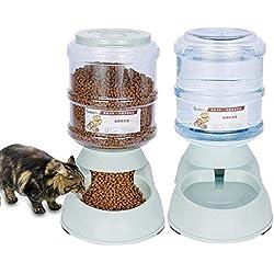 Volwco Automatiques Distributeur de Nourriture et d'eau pour Chat et Chien 3.75L, Distributeur Eau et Croquettes Automatique pour Animaux Domestiques -Distributeur de Nourriture et d'eau