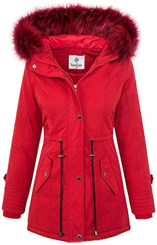 Damen Echtfell Winter Jacke Parka Kapuze Designer Damenjacke Outdoor D-204 [D-345 FL-1706 Red XL]