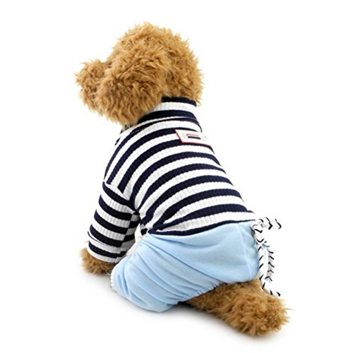 zunea Jumpsuit für kleine Hunde mit Denim Hose Hund Outfits Haustier Kleidung Puppy stripe (Party Big Blue's Costume)