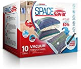 SpaceSaver 10 x Premium Jumbo Vacuum Storage Bags, 80% More Storage Than Other Brands! Free Hand-Pump For Travel!