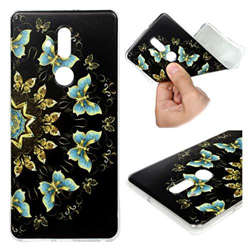Huawei Mate 20 Lite Handyhülle Hülle Silikon Case Durchsichtig Transparent Schutzhülle TPU Slim Fit Tasche Silikonhülle Handyhülle Handytasche Backcover Handycover Schwarzer Blauer Schmetterling