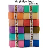 Sio Fridge Vegetable and Fruit Reusable Net Bag, Pack Of 12, Multicolored