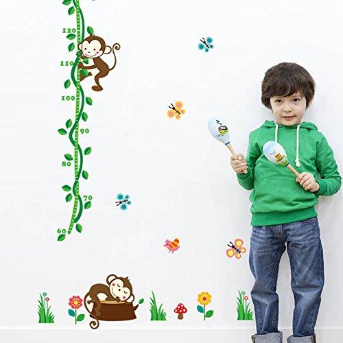 WandSticker4U- Wandtattoo Kinderzimmer Messlatte Affen | Wandbild: 70X190cm | Wandsticker Baum Zweig Blumen Tiere Schmetterlinge Vogel Wand Aufkleber Deko Babyzimmer für Kinder Baby