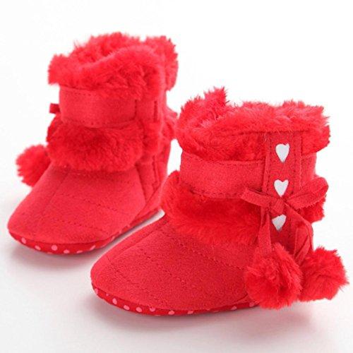 Tonsee Bébé Bottes de neige Soft Sole Bottes Soft Crib Chaussures hiver Rouge 2