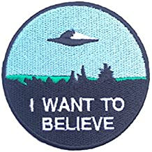 I Want a Believe parche (8cm) bordado hierro o coser insignia Retro Souvenir DIY disfraz X-Files–Póster de película Alien extra terrestre Flying Saucer espacio