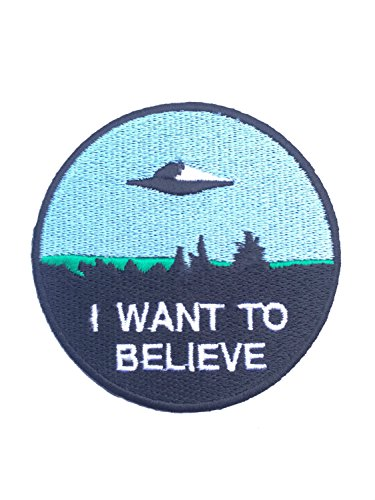 Kostüm Diy Aliens (I Want To Believe Patch Nähen oder Bügeln (8 cm) bestickt Badge Retro Souvenir DIY Kostüm X-Files Poster Alien Extra Terrestrial Flying Untertasse)