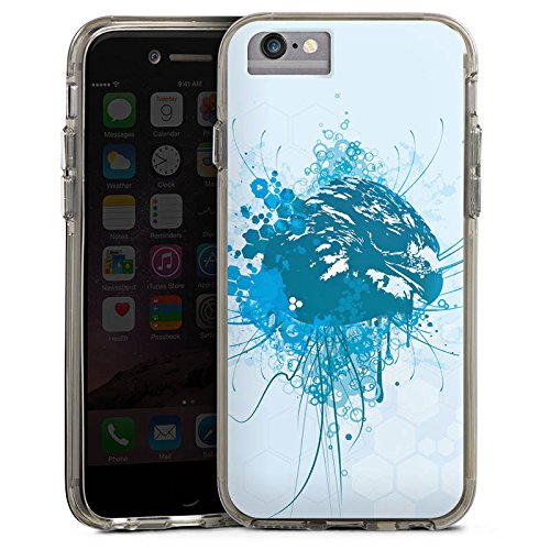 Apple iPhone 6s Bumper Hülle Bumper Case Glitzer Hülle Eagle Adler Greif Bumper Case transparent grau
