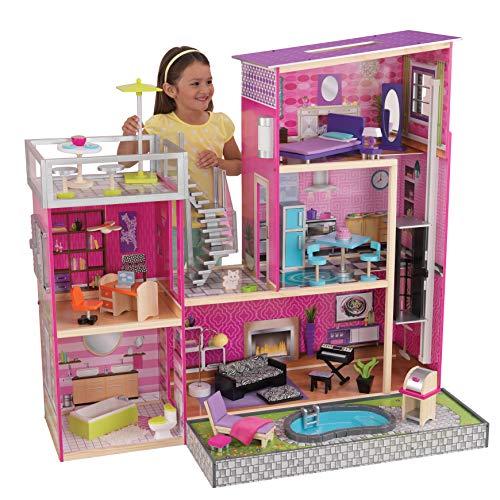 Kidkraft 65833 Uptown Casa Delle Bambole Legno con Mobili e Accessori inclusi 3 Piani Adatta A Bambole da 30