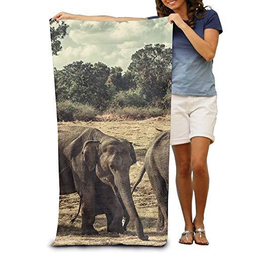Fedso Toalla de Playa superabsorbente, diseño de Elefante Natural, poliéster y Terciopelo,...