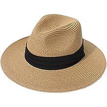 DRESHOW Sombrero de paja Big Bowknot para mujer Floppy plegable Gorra de  playa Sun Hat UPF b20f4e1db76