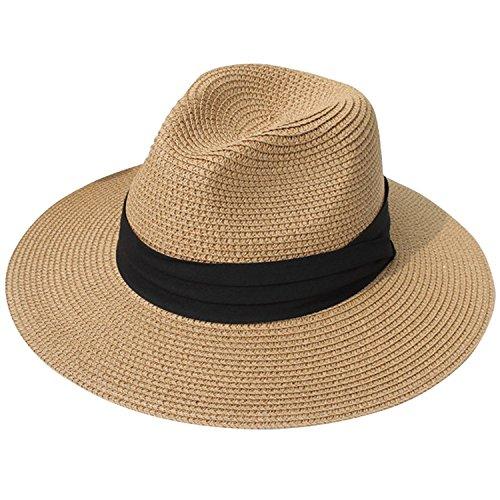 DRESHOW Frauen Breit Rand Stroh Panama Roll up Hut Fedora Strand Sonnenhut Faktor 50+ (Stroh-sonnenhut Frauen)