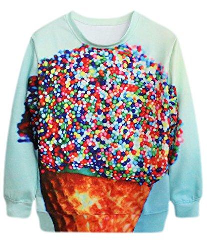 Preisvergleich Produktbild Vian Lundgaard - Mädchen Girl Toller Sweater mit Eiswaffel Druck,  langarm,  M,  Türkis