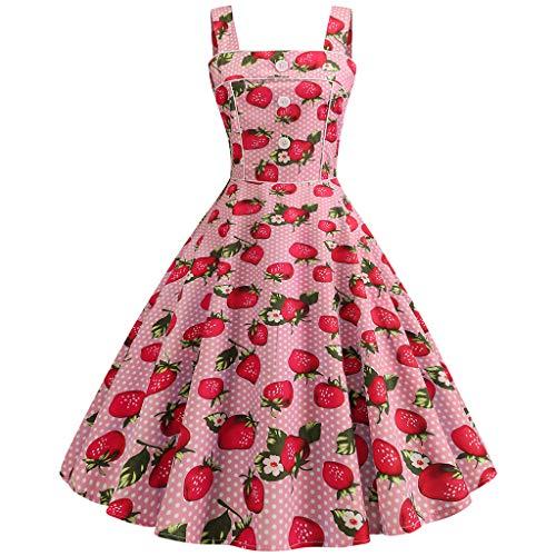AIni Damen Vintage ÄRmelloses Elegant 50er Jahre Petticoat Kleider Gepunkte Rockabilly Kleider Cocktailkleider Partykleid Ballkleid Festkleid A-line Vintage Mantel