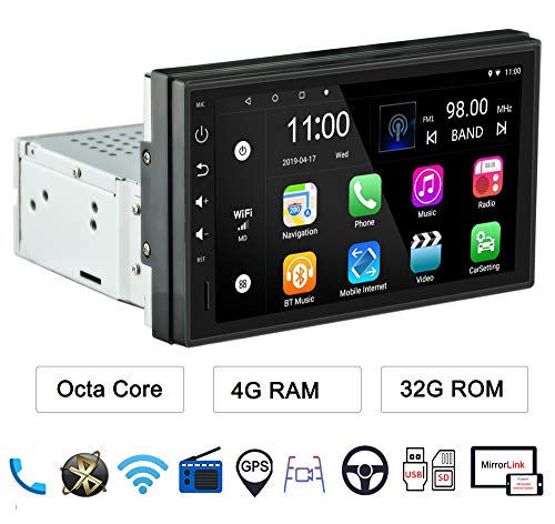 LEXXSON 1 Din Android Autoradio Android 8.1 Octa Core 4 GB RAM Head Unit mit Nav Bluetooth WIFI Unterstützung DAB + RDS GPS USB SD Spiegel Link, mit 7
