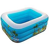 LINAG Kinder Aufblasbare Schwimmbad Pool Planschbecken Sand-Teich Wasser Tragbaren Faltbar Sicherheit Wanne Drei Schichten Badewanne Strand 110Cm ,Onecolor,