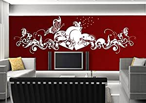adesivi murali parete tatuaggio Adesivo soggiorno notte bambini Camera Cucina 30 colori per la selezione di amore fata farfalla cuore wsh02(070 nero, size3:ca.200x58cm)