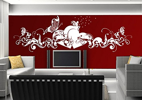 Adesivi murali parete tatuaggio adesivo soggiorno notte bambini camera cucina 30 colori per la selezione di amore fata farfalla cuore wsh02(010 bianco, size3:ca.200x58cm)