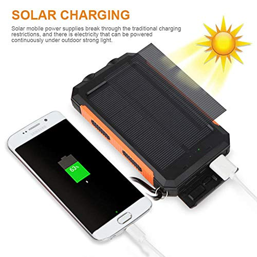 Solar Power Financial institution, Zowam 20000mlAh Portable Solar Phone Charger External Backup Solar Panel with Dual USB Ports Outdoor LED Flashlight and Compass Image 3
