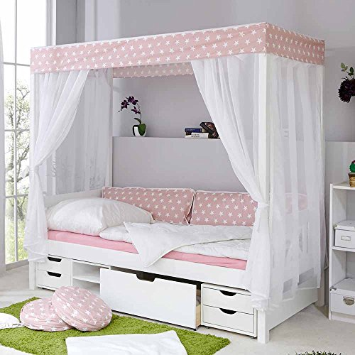 *Mädchen Himmelbett mit Schubladen Weiß Rosa Pharao24*